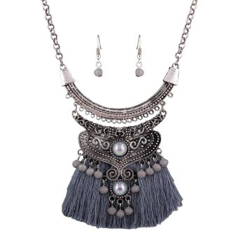 Harga Fashion National Tassel Necklaces And Earrings Stud Grey - intl