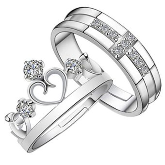 Harga Wedding Band Couple Rings S925 Silver Material 1 x Men's Ring + 1 x Women's Ring Crown Retro Style(Export)(Intl)
