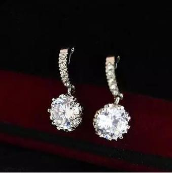 Korean fashion ear clip super flash zircon no ear pierced earrings round fake earrings diamond earrings Korean same paragraph