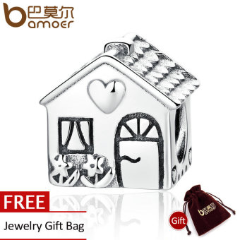 Harga BAMOER Authentic 925 Sterling Silver Love Heart House Charms Fit BME Bracelets Families Gift Fine Jewelry PAS341 - intl