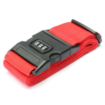 Harga Adjustable Luggage Suitcase Straps Travel Baggage Packing Buckle Tie Belt Lock Red - Intl