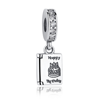 Harga Authentic 925 Sterling Silver Happy Birthday Cake Wishes Dangle Clear CZ Charm Fit Original Bracelet Jewelry PAS151 - Intl