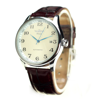Harga WINNER Men's Automatic Leather Wrist Watch (Brown)