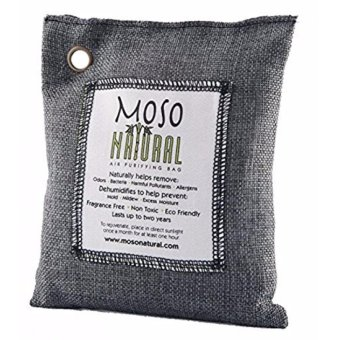 Harga Moso Natural Air Purifying Bag. Odor Eliminator for Cars, Closets, Bathrooms and Pet Areas. Charcoal Color, 200-G - intl