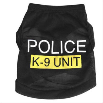 Harga BolehDeals Pet Dog Puppy Cat Clothes Jacket Hoodie Police Vest Costume Coat Black S - intl
