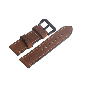 Genuine Leather Brown Watch Strap Band Watchband 24mm Width Black Buckle 72 - Intl