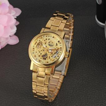 Harga Fashion Lady Winner Skeleton Hollow Automatic Mechanical Watch Female Automatic Mechanical Watch Steel Strip(Gold) - intl
