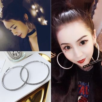Harga Europe and the united states exaggerated style circle pendant earrings female korean temperament long section of wild personality influx of people ear ring earrings