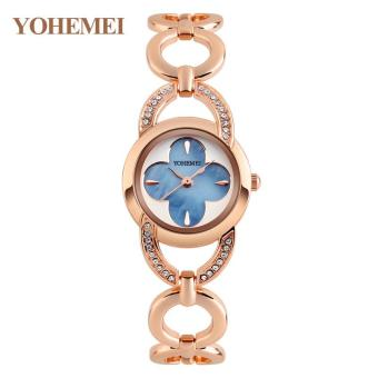 Harga YOHEMEI Ladies Bracelet Watch Waterproof Quartz Watch Women Alloy Strap Casual 0170 - Blue - intl