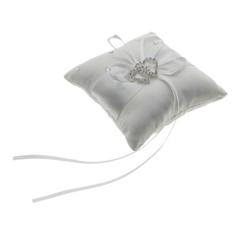 Harga Vanker White Ring Bearer Pillow Cushions Wedding Double Heart Gift with Ribbon Bowknot