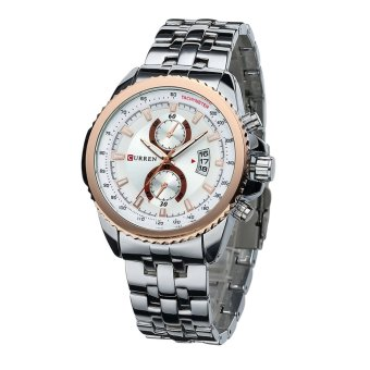 Harga 360DSC Curren 8082 Men's 3ATM Waterproof Quartz Stainless Steel Band Wrist Watch with Date Function - Silver + White