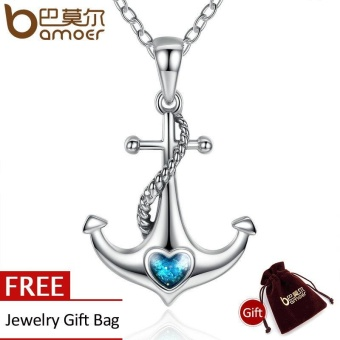 Harga BAMOER Classic 925 Sterling Silver Blue Heart Crystal Anchor Pendant Necklaces Women Fashion Jewelry Engagement SCN051 - intl