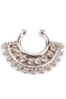 Harga Surgical Steel Fake Septum Clicker Non Piercing Rhinestone Nose Ring Hoop Clip Rhinestone Silver