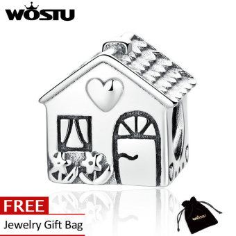 Harga Wostu Authentic 925 Sterling Silver Love Heart House Charms Fit BME Bracelets Families Gift Fine Jewelry ZBBS341 - intl