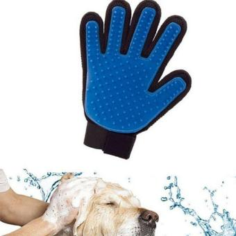 Harga Massage Glove True Touch Deshedding Gentle Efficient Pet Grooming Dogs Cats Bath Blue - intl