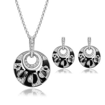 Cocotina Fashion Womens Rhinestone Crystal Pendant Chain Necklace Drop Dangle Earrings Party Cocktail Jewellery Set