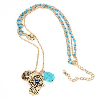 Harga Bluelans Turquoise Hamsa Fatima Evil Eye Pendant Double Layers Beads Necklace
