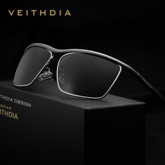 Harga VEITHDIA Brand Best Alloy Men's Sunglasses Polarized Lens Driving Fishing Eyewear Accessories Driving Sun Glasses For Men 6381(Black/gray)