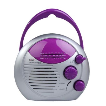 Harga AM FM Shower Radio Bathroom Waterproof Hanging Music Radio (Purple)