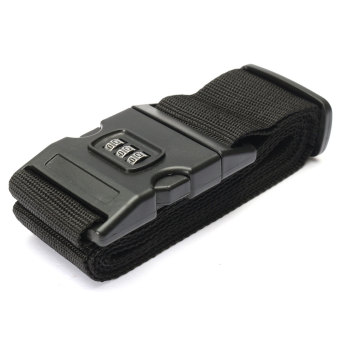 Harga Adjustable Luggage Suitcase Straps Travel Baggage Packing Buckle Tie Belt Lock Black - Intl