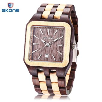 Harga S&L SKONE 7398B Male Quartz Watch Date Luminous Display Square Dial All-wooden Wristwatch (Brown) - intl
