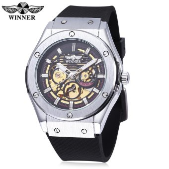 Harga WINNER W2016060202 Male Auto Mechanical Watch Luminous Hollow Back Cover Nail Scale Wristwatch - intl