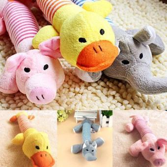 Pet Puppy Chew Squeaker Squeaky Plush Sound Pig Elephant Duck For Dog Sound Toys - intl