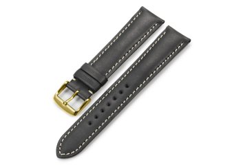 iStrap 20mm Genuine CalfSkin Leather Watch Band Straps Golden Spring Bar Buckle Replacement Clasp Super Soft Black 20