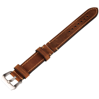 22mm Width Genuine Leather Wristwatch Watch Band Strap Watchband Stainless Buckle (Brown Color) - Intl