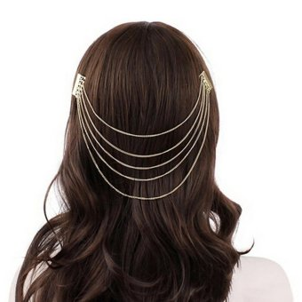 Lovely Charm Women Tassel Headband Hair Band Comb Cuff Chain Jewelry Gold - intl