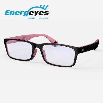 ENERGEYES Computer Glasses Protect Eyes and Cut Blue Light by 50% Adult Rectangle Black Front and Pink Back