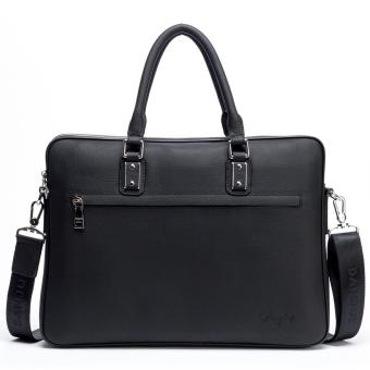 DANJUE Genuine Leather Men Briefcase Fashion Solid Luxury Handbag High Quality Business Man Laptop Bag Brand Shoulder Bag(Small Black) - intl