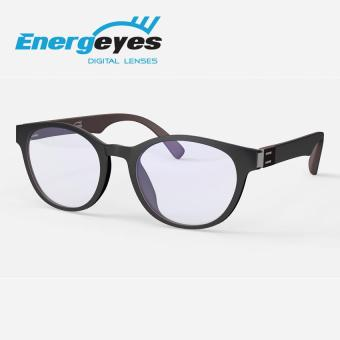 ENERGEYES Anti-Fatigue Computer Glasses Protect Eyes and Cut Blue Light by 50% Adult Round Black Front and Mocha Brown back