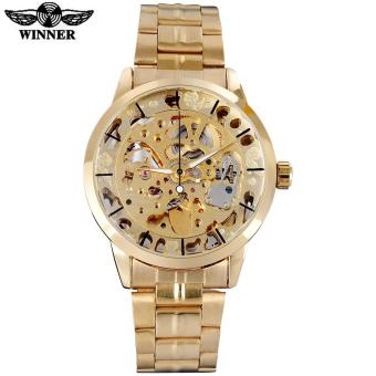 Harga WINNER famous brand men watches luxury mechanical skeleton watches skeleton stainless steel band gold dials relogio masculino