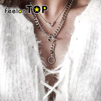 Harga Feelontop Punk Rock Silver Color Double Layers Wide Chain Necklace