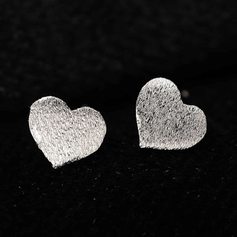 Women Lady Frosted Heart Shape 925 Sterling Silver Ear Stud Earrings Gift