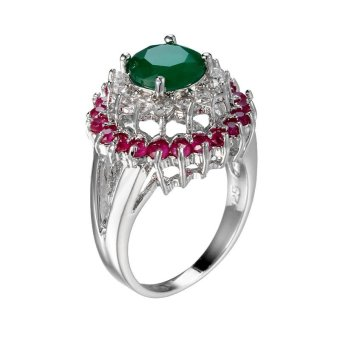 Harga EOZY New Fashion Ladies Women Emerald Rings White Gold Plated Wedding Ring Size 6-10 - intl