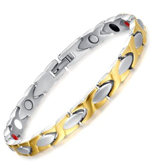 "Harga Womens ""X"" Titanium Healthy Magnetic Therapy Bracelet,Gold,Silver"