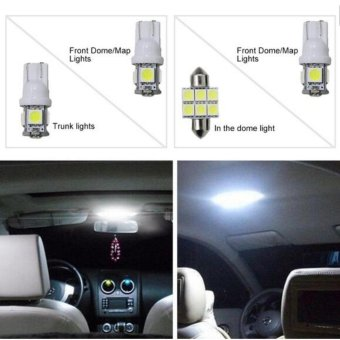 Harga For Suzuki SX4 Convenience Bulbs Car Led Interior Light C10W W5W Replacement Bulbs Dome Map Lamp Light Bright White 4 PCS Per Set - intl