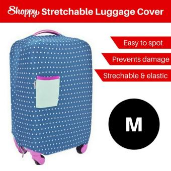 Harga Shoppy Stretchable Protection Polka Dot Luggage Cover (Polka Blue -M)