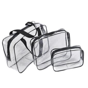 Travel Pouch Transparent PVC Waterproof Wash Bag Cosmetic Bag Black - intl