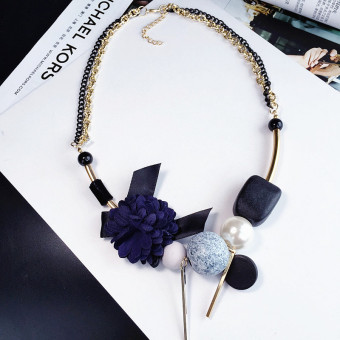 Harga Blue camellia flower wild retro Pearl short paragraph necklace Korean-style wild temperament clavicle chain jewelry accessories pendant