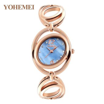 Harga YOHEMEI 0167 Women Alloy Strap Bracelet Watch Ladies Casual Waterproof Quartz Watch - Blue - intl