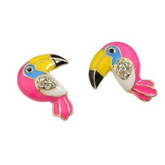 Feelontop New Coming Lovely Cute Coloful Enamel with Rhinestone Bird Parrot Stud Earrings