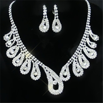 New Wild Bride Wedding Accessories Bridal Set Diamond Set of Chains Necklace Set(White)
