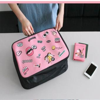 Harga Portable Luggage Storage Cube Organizer Bag Clothes Packing Women Handbag Lady Nylon Cute Cartoon Portable Travel Package (color:pink size:medium) - intl