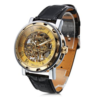Harga Winner Skeleton Design Manual Mechanical Watch Leather Strap GoldDial(Export)(Intl)