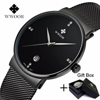 Harga Coowalk Fashion Luxury Men Watches Stainless Steel Mesh Strap Quartz Watch Ultra Thin Dial Clock Birthday Gift Valentine Lover Gift Man Casual Quartz Watch (Black)