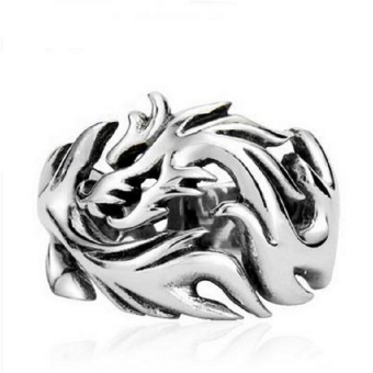 Harga Sporter Dragon Pattern Biker Rings for Man Vintage Stainless Steel Gothic Men