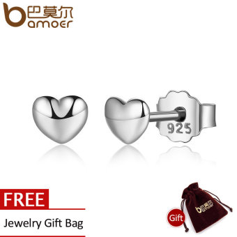 Harga BAMOER 100% 925 Sterling Silver Petite Hearts Stud Earrings for Women Silver Small Earrings Fine Jewelry brincos PAS441 - intl